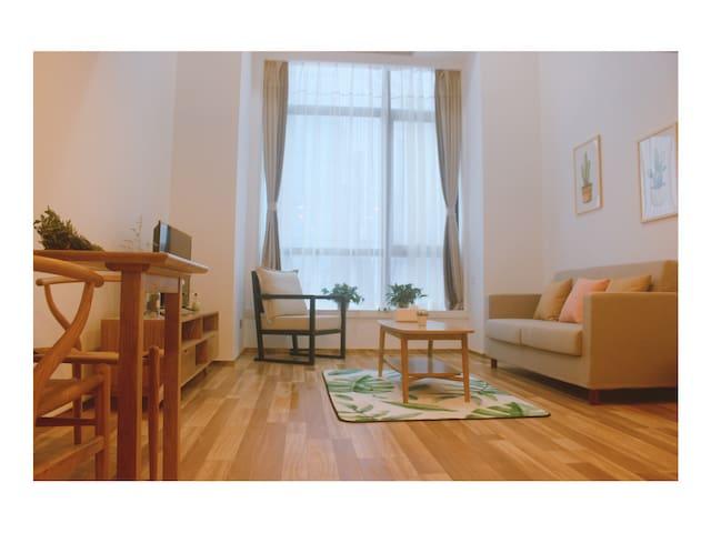 「九栖小宅」日式MUJI风 温馨loft 双床房 星海美宿
