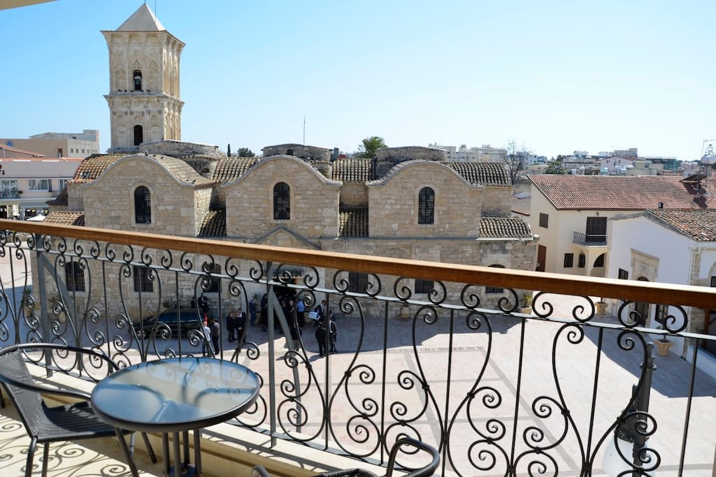 View from the balcony of the apartment. St Lazaros , which was originally built in the 9th century by Byzantine Emperor Leo VI.