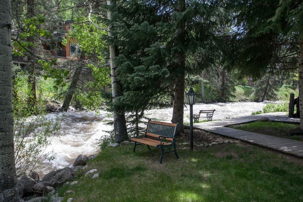 Follow the path to enjoy the Gore Creek river view from Interlochen property.