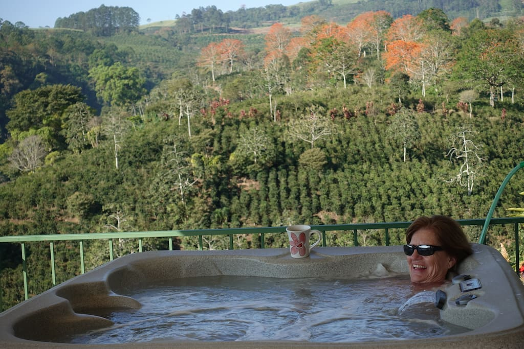 Enjoy your morning jo or an evening vino  in your private Jacuzzi, relaxing to the soothing sounds of the Aquiares Waterfall.