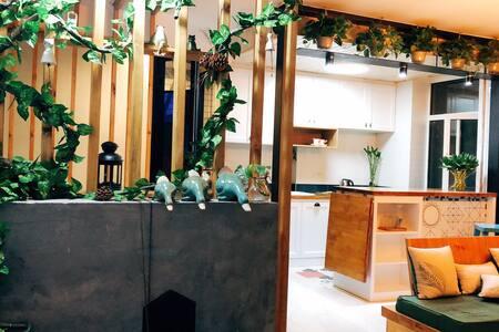 琥珀空间工作室主题民宿60平大床房一室一厅一卫一厨