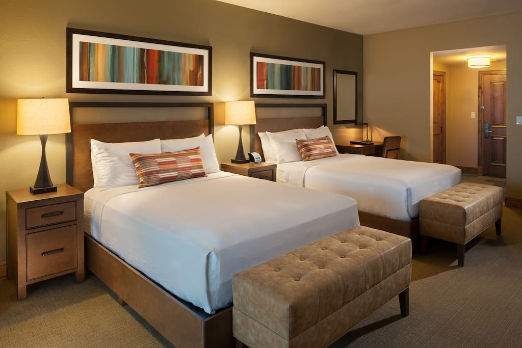 Get a good night's sleep in one of two plush queen sized beds.