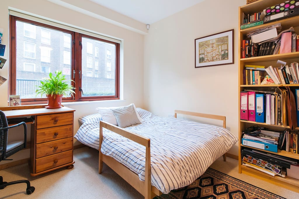 The bedroom which guests will use, with double-sized futon.