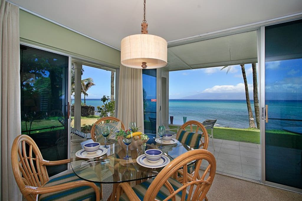 Even our indoor dining area boasts breathtaking corner views of the ocean and surf.