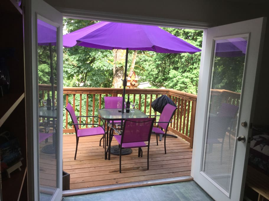 Amazing purple umbrella that guests gifted us with on their third visit to our Purple House PDX.  Incredibly kind and totally unexpected!