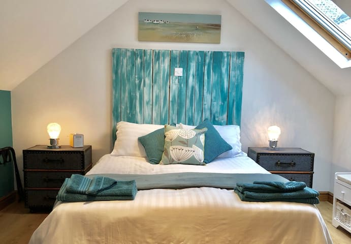 Master Bedroom with King size bed also with   Freeview TV