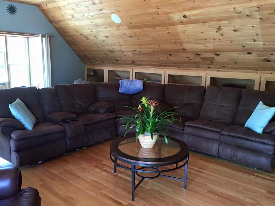 3 recliners & full wrap-around sectional comfortable couch