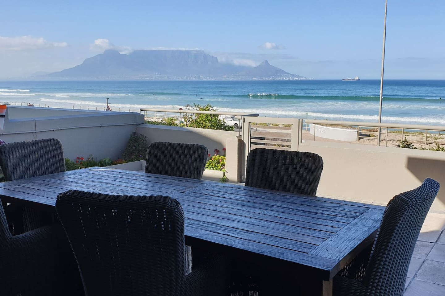 Uninterrupted view of Table Mountain from the large patio