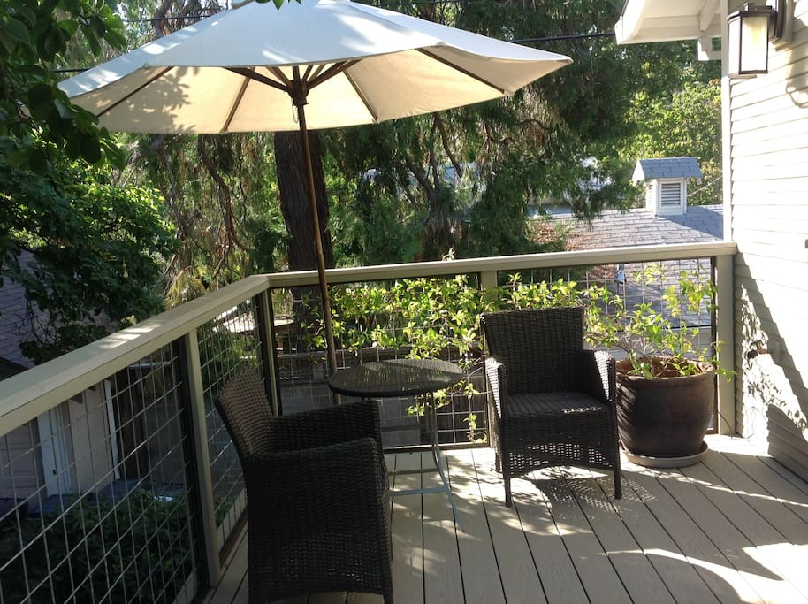 Shaded seating to enjoy the deck off the living space.