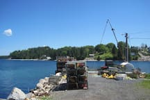 The wharf on the property is used by lobster fishermen during fishing season.