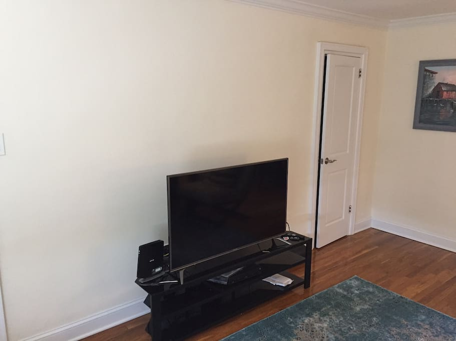 TV with FIOS service in the living room. 48 inch new TV.