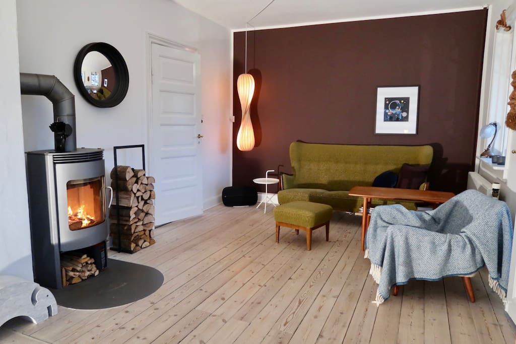 Charming living room with our cosy firestove