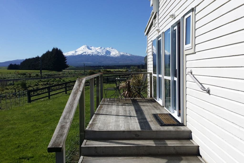 Access to apartment via private deck; your own view of Mt Ruapehu and neighbouring farmland.