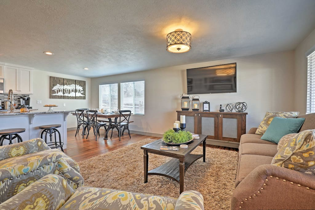 Tasteful decor and comfortable furnishings invite you into the lovely home.