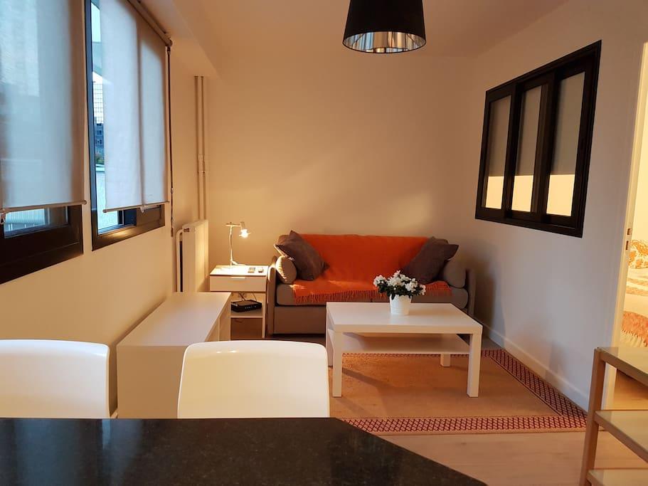 Coin salon cozy avec TV et canapé-lit