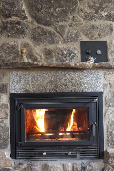 Chimenea Ecológica que además de proporcionar un placer mirarla también os dará calor que se distribuye por los radiadores que hay en las habitaciones, haciendo tu estancia muy agradable