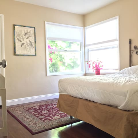 Bright and airy room overlooking our yard. Nice firm mattress  for quality rest