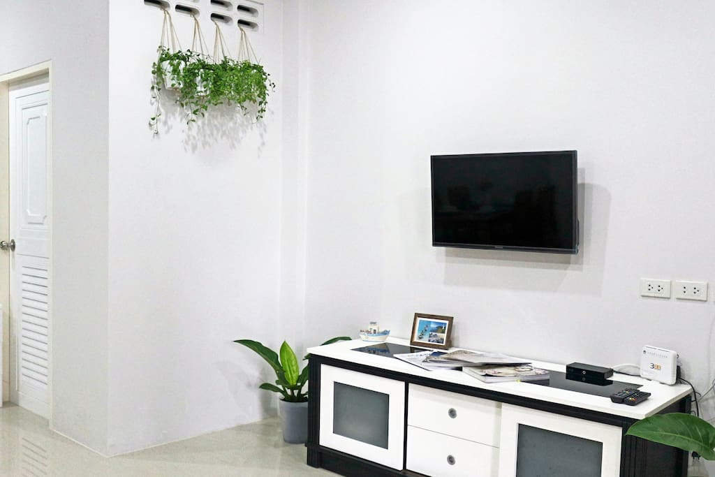 Living room with TV (satellite channels)