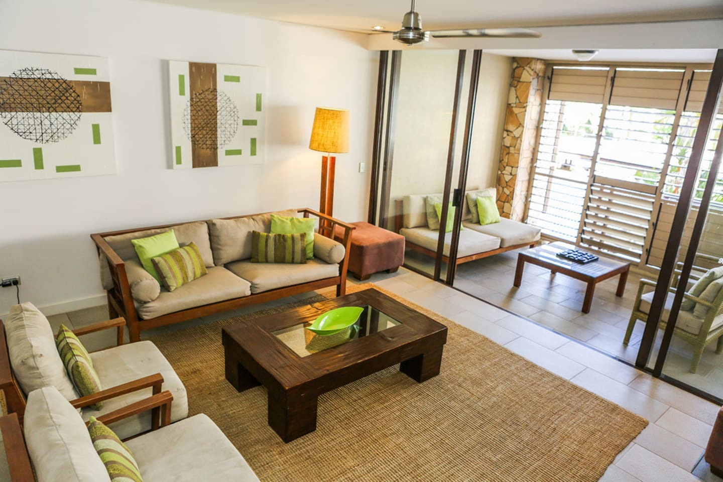 Open plan living and dining areas open onto the nalcony.