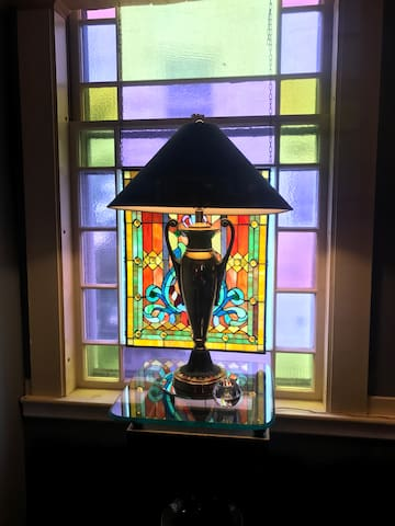 Dining Room Window with Stained Glass