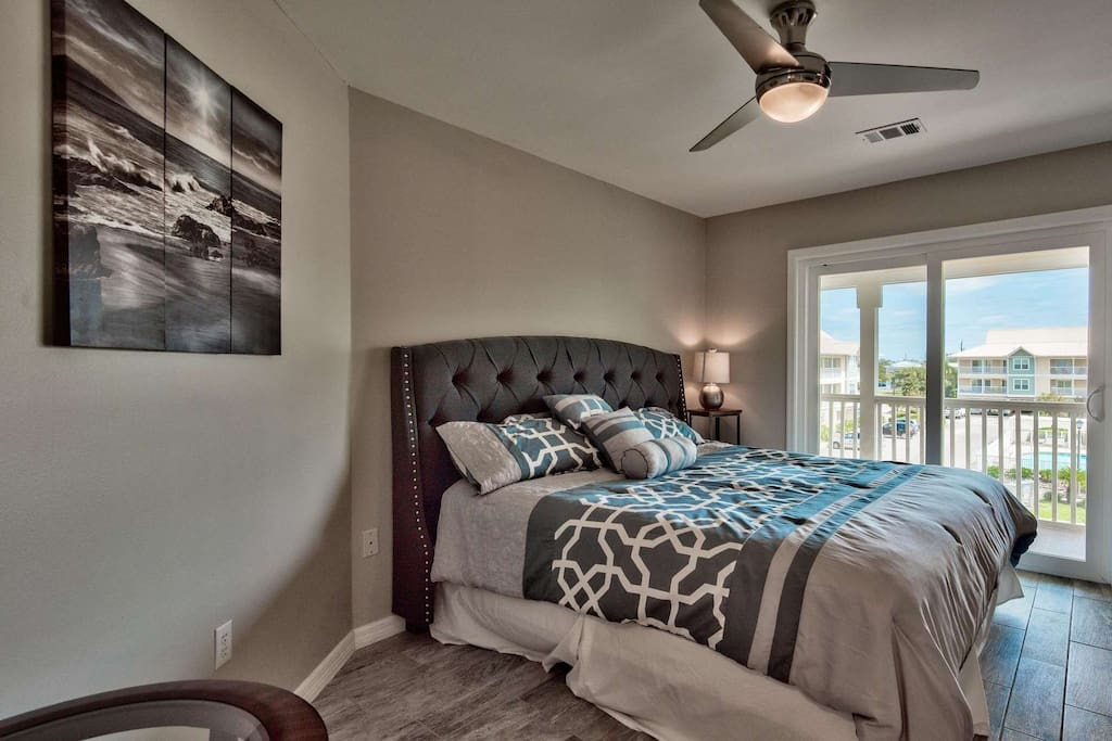 Brand new furniture in the master bedroom with king sized bed
