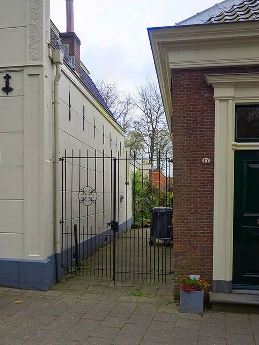 Entrance through the gate.