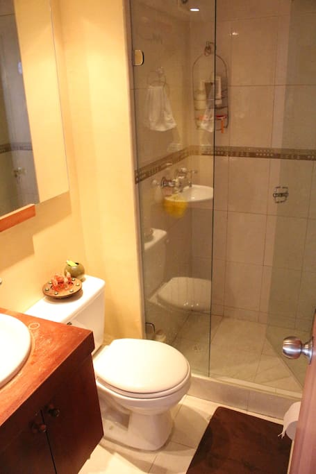 Shared Bathroom with one couple.  Shower with hot water
