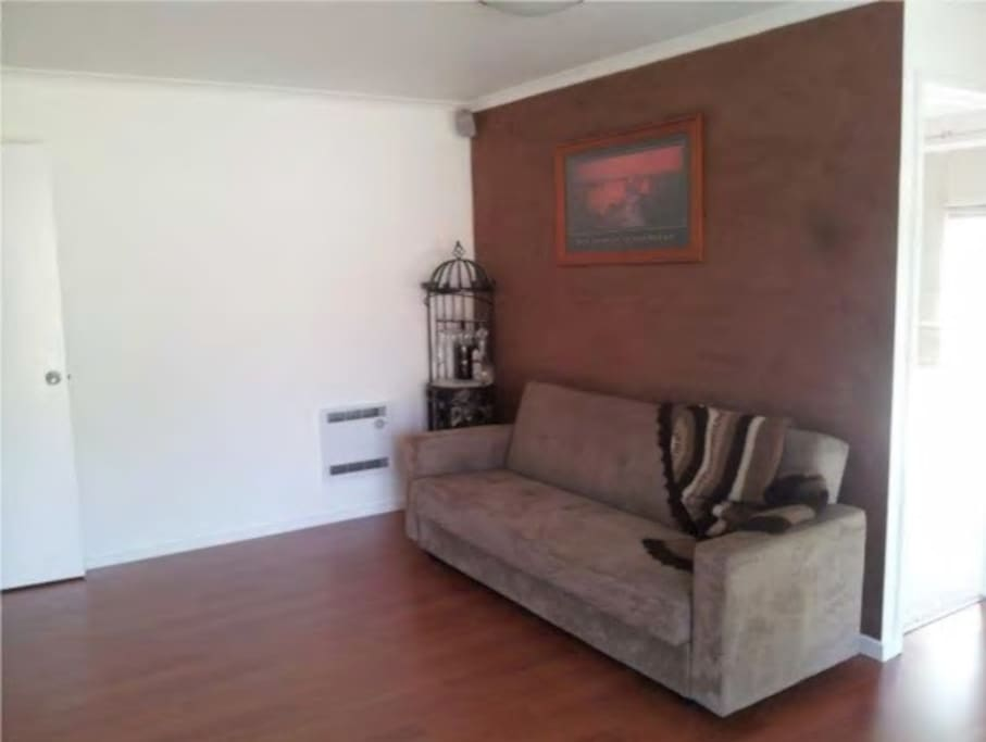 Front lounge room with fold down couch (double bed size)