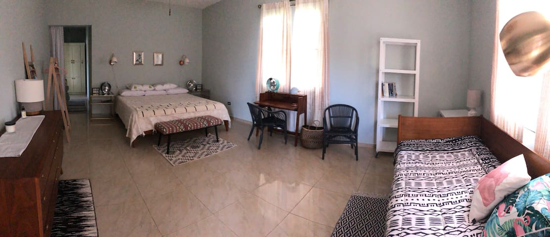 Large downstairs Master bedroom with a king bed and twin bed/daybed