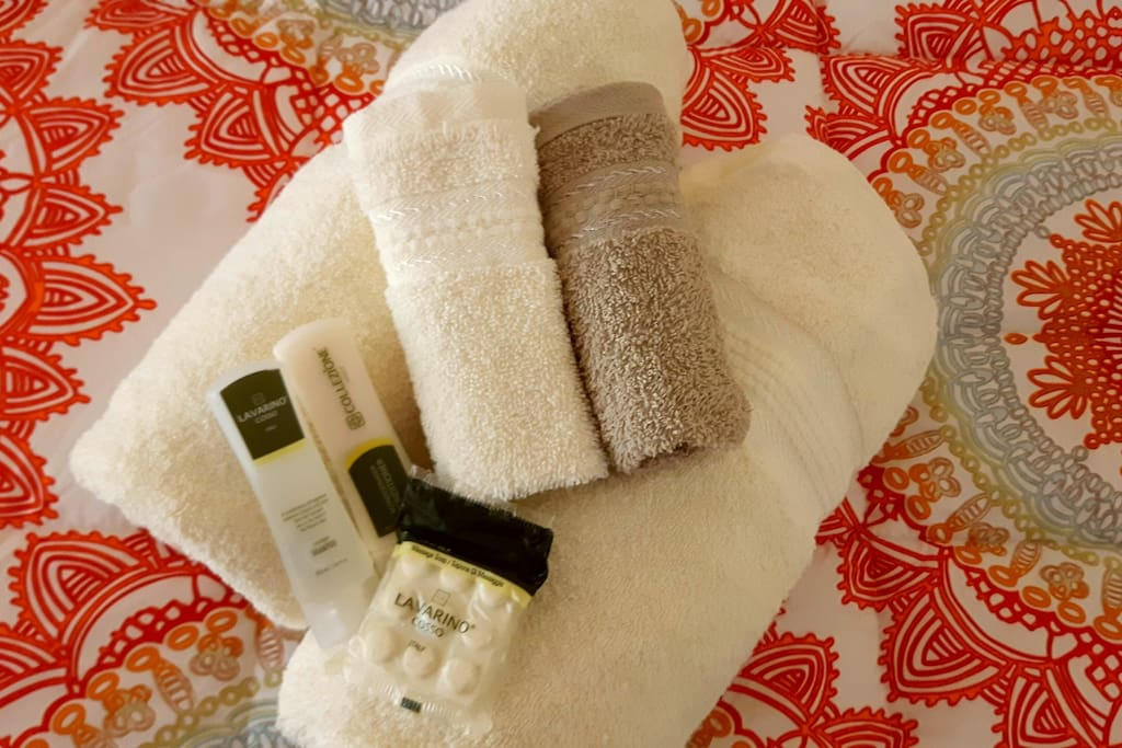 Large soft towels and soap provided