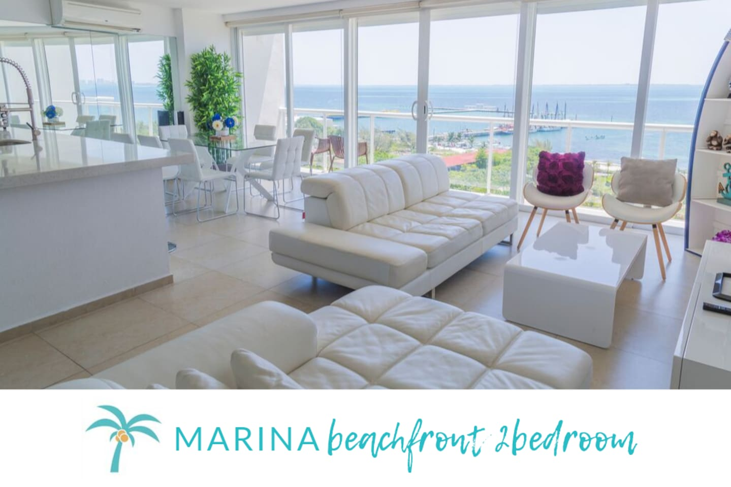 * MARINA-  Beachfront 2 BDR-Modern apartment in Cancún with ocean view*