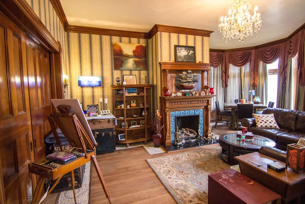 Curl up with a book or enjoy a board game in our parlor.