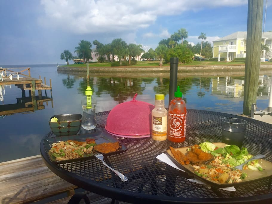 You can have dinner on our dock