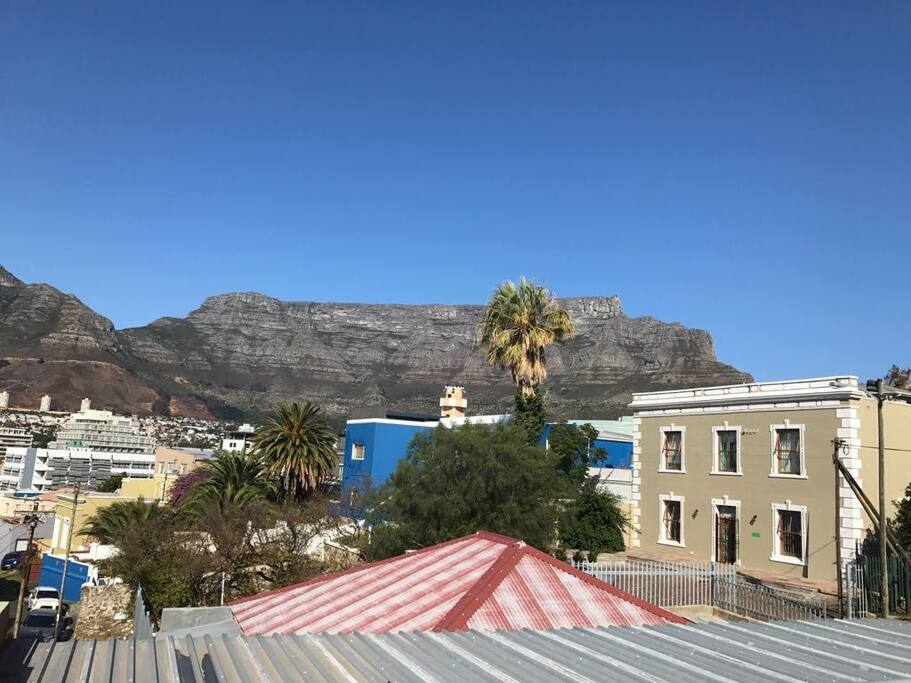 view of table mountain from the roof of the house accessed by the staiway