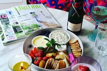 Girls hens Day cheese plates and Moët provided. Only the best. Or you can pre order for any accessions.