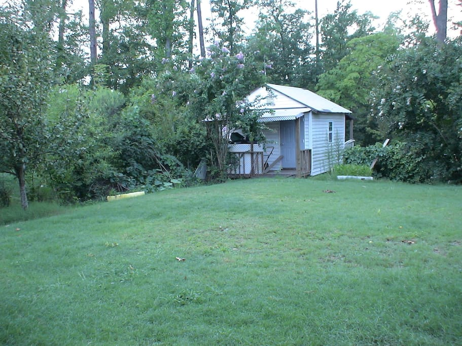 Storage Shed over a creek & trees
