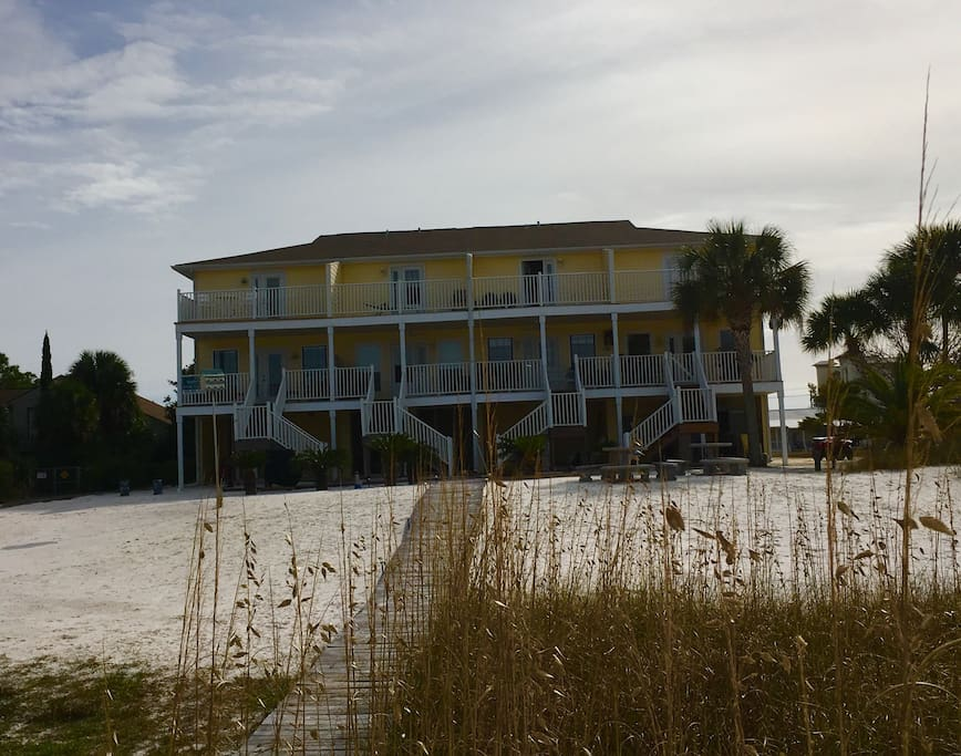 View of the town home from the private beach on the ICW
