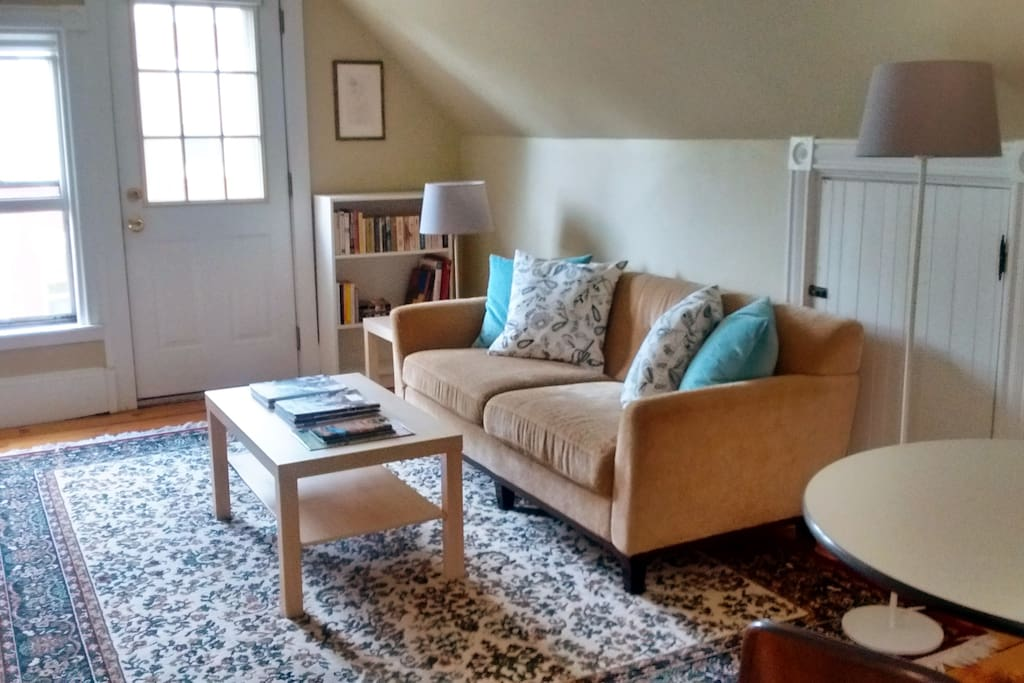 The living room has a sofa, TV and table that is suitable to use as a work station. The room also has a closet with hangers, books, magazines and a collection of DVDs (both movies and TV series).