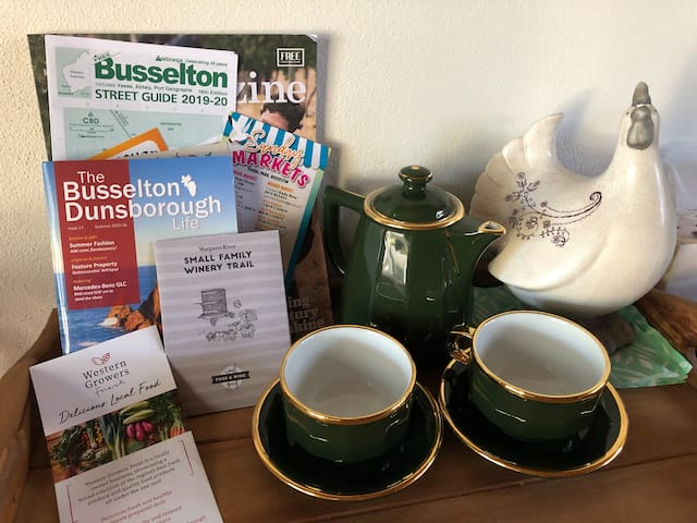 Enjoy a cuppa or coffee when you arrive, while you read about this beautiful area of Busselton-Margaret River.