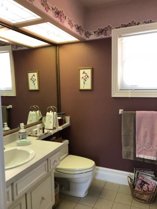 The Manor room private bathroom with bath & shower over the tub
