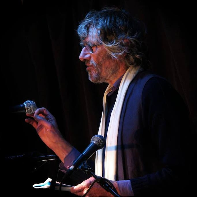 Richard (Rick) reading one of his poems at Stroud Book Festival.