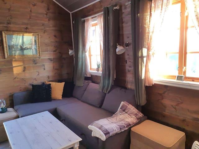 Stue/soverom med vinkel sovesofa som kan gjøres om til dobbeltseng 150 bred.