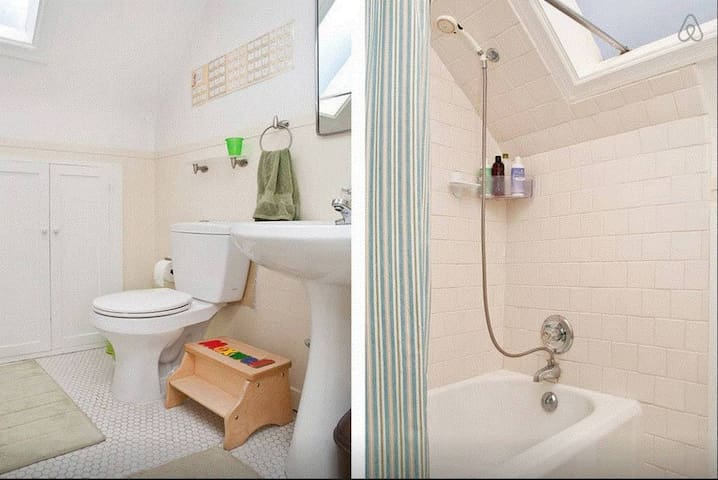 Full (shared) bathroom on top floor, near the bedroom, but a little messier since the kids use it!