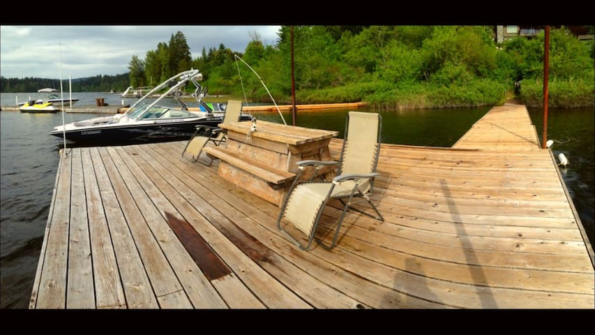 Large, private, custom cedar dock. Shared boat parking with the wakeboard school.