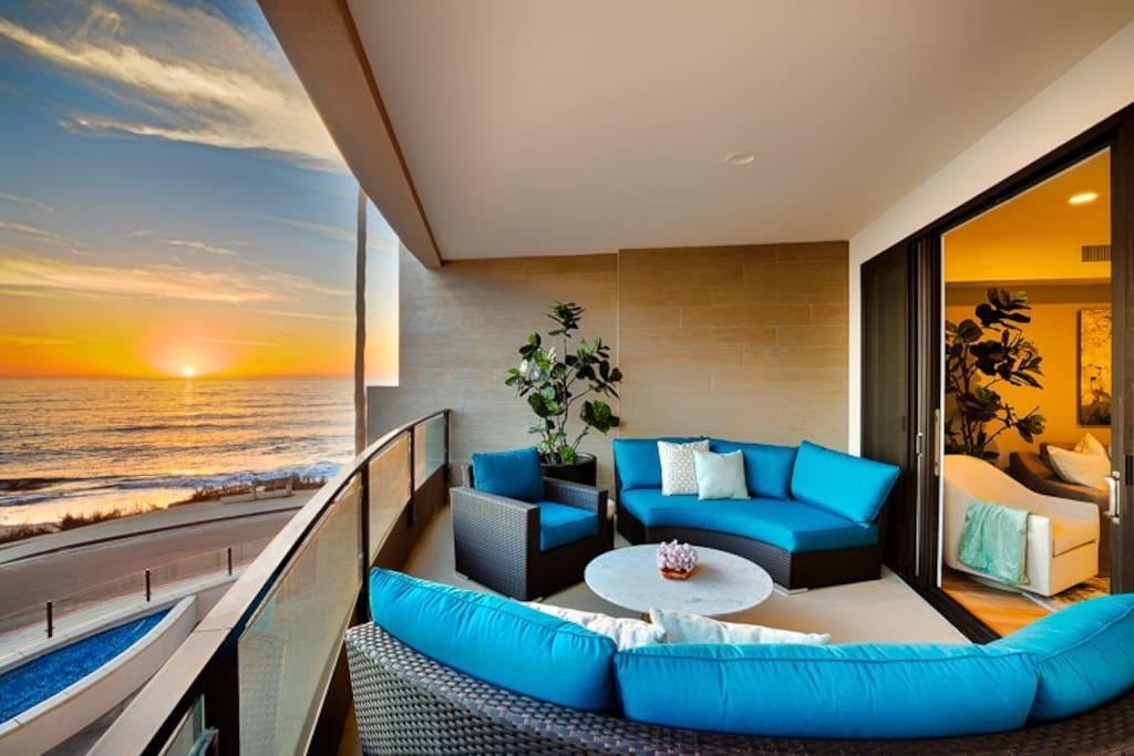 Exquisite outdoor balcony - perfect place to enjoy the changing ocean and sunset colors.
