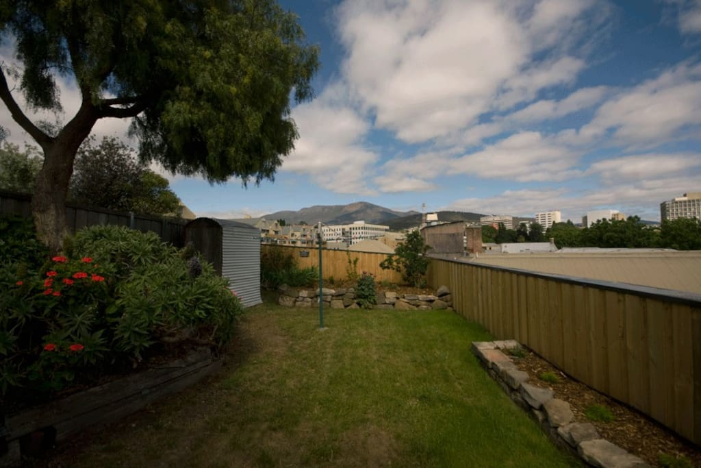 BACKYARD: Private, secure backyard - with a view of Mount Wellington