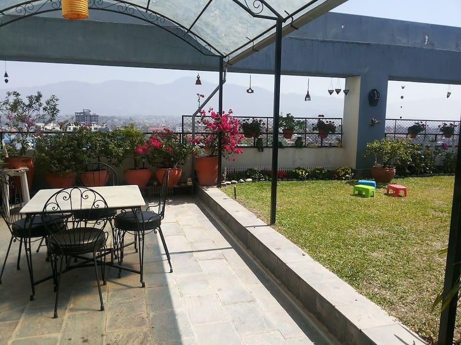 Roof-top garden overlooking the city