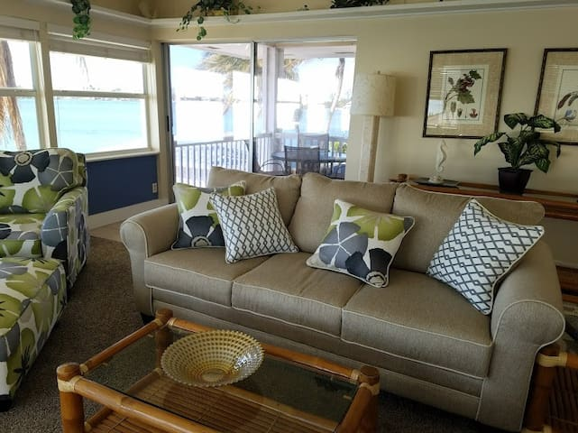 Waterview living room with porch