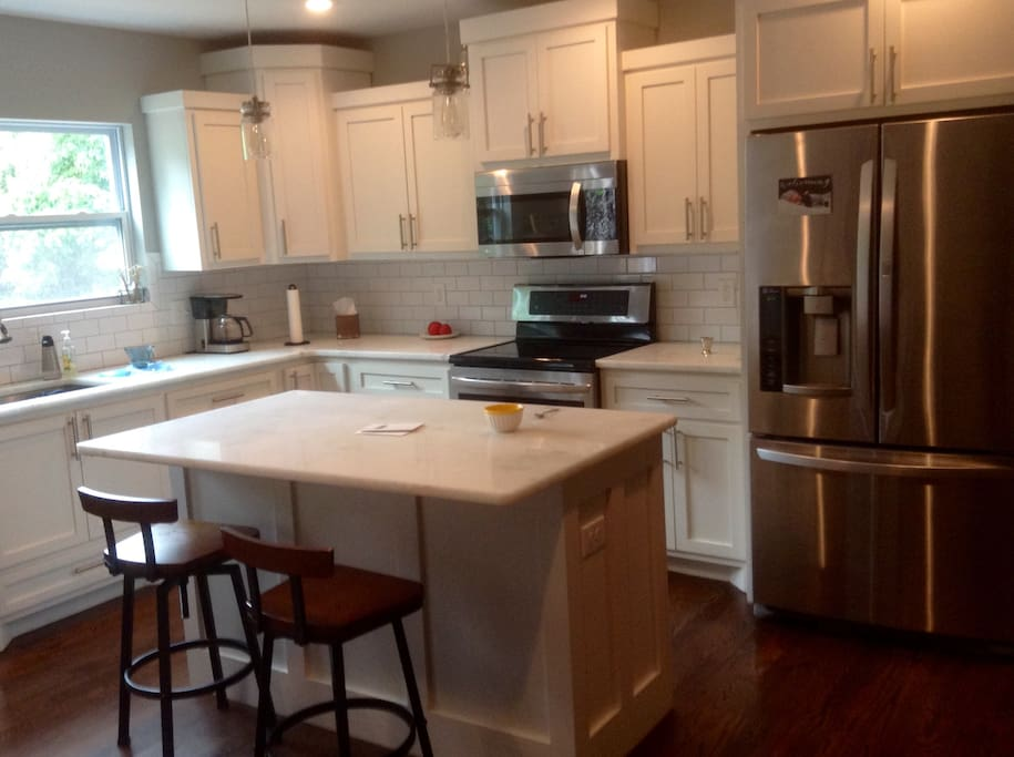 Update kitchen with stainless steel appliances and coffee maker