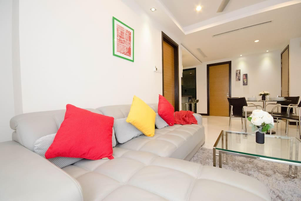 Living Area equipped with comfortable leather sofa